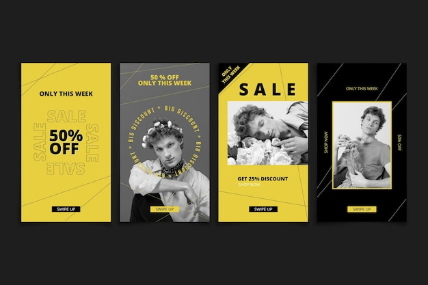 Coleção de histórias de venda plana instagram com foto