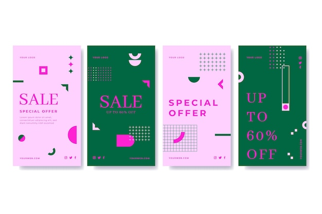 Coleção de histórias de venda plana instagram