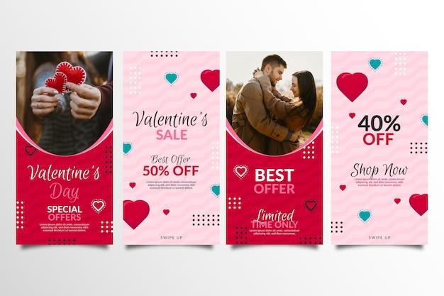 Coleção de histórias de vendas com desconto no dia dos namorados