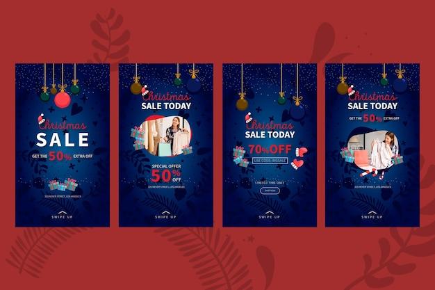 Coleção de histórias de vendas de natal no instagram Vetor grátis