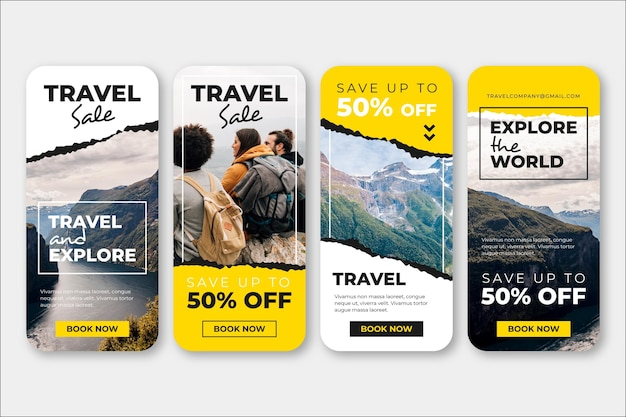 Coleção de histórias de vendas de viagens