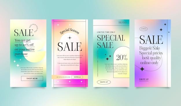 Coleção de histórias de vendas instagram em gradiente