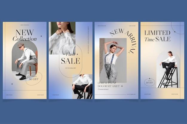 Coleção de histórias de vendas instagram gradiente com foto