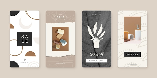 Coleção de histórias de vendas instagram pintadas à mão