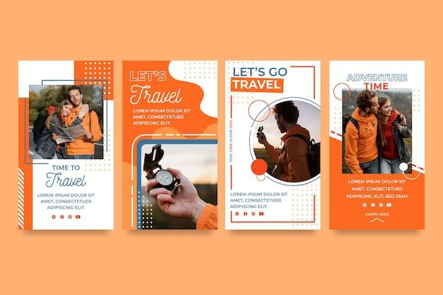 Coleção de histórias de viagens desenhadas à mão
