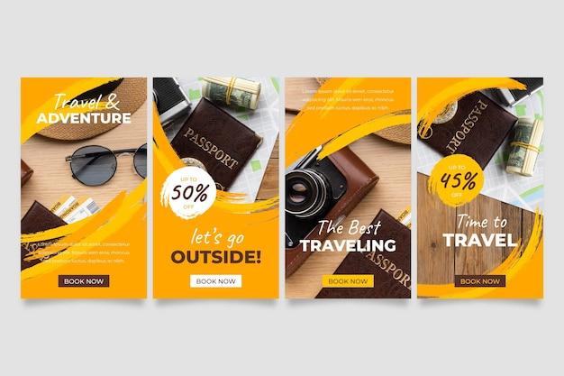 Coleção de histórias de viagens no instagram com pinceladas