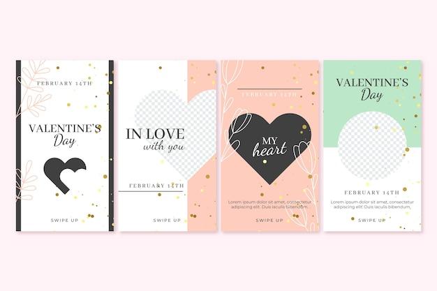 Coleção de histórias do dia dos namorados