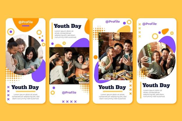 Coleção de histórias do dia internacional da juventude com foto