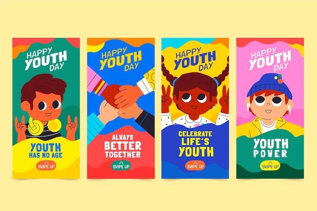 Coleção de histórias do dia internacional da juventude de desenhos animados