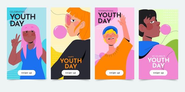 Coleção de histórias do dia internacional da juventude desenhada à mão