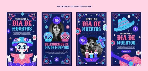 Coleção de histórias do instagram com dia de música plano