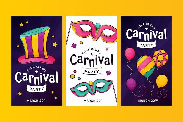 Coleção de histórias do instagram com o conceito de festa de carnaval