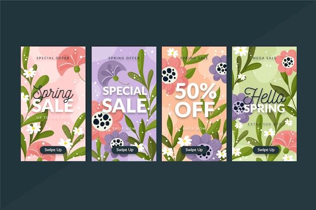 Coleção de histórias do instagram com venda de primavera