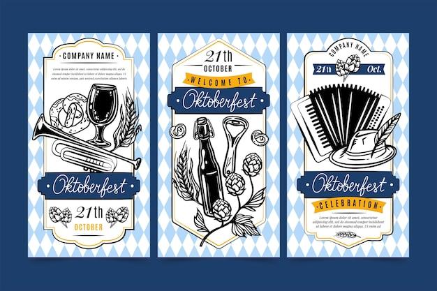 Coleção de histórias do instagram da oktoberfest desenhada à mão