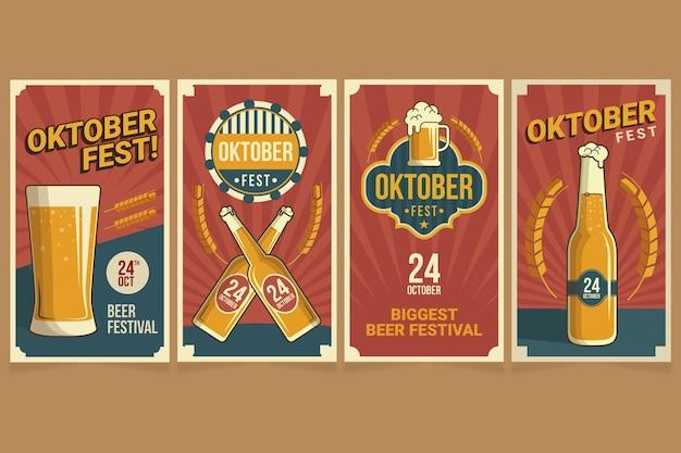 Coleção de histórias do instagram da oktoberfest plana