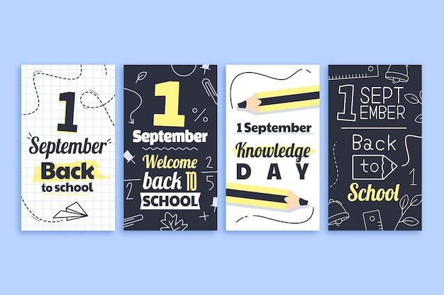 Coleção de histórias do instagram de 1 de setembro de desenhos animados