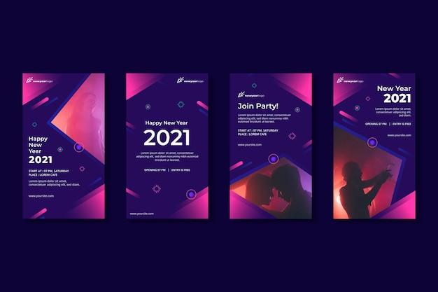 Coleção de histórias do instagram de ano novo de 2021