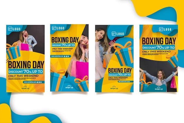 Coleção de histórias do instagram de boxing day