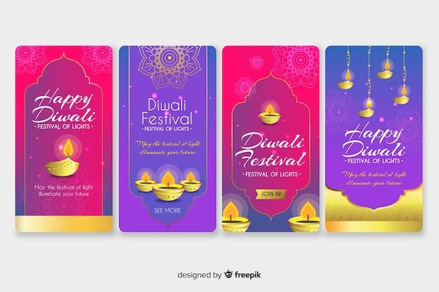 Coleção de histórias do instagram de diwali