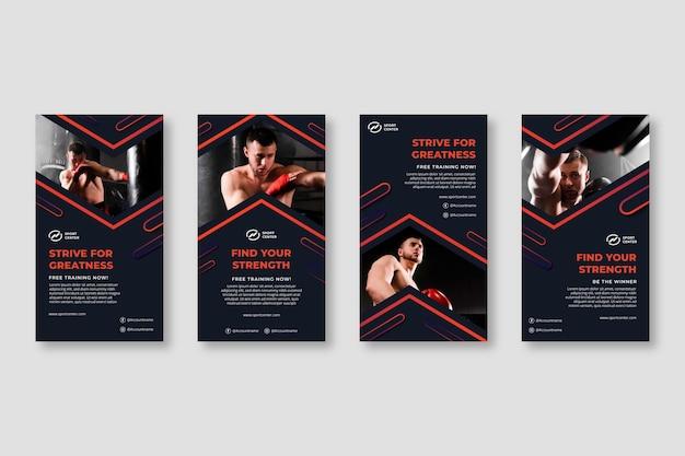 Coleção de histórias do instagram de esporte gradiente com boxeador masculino