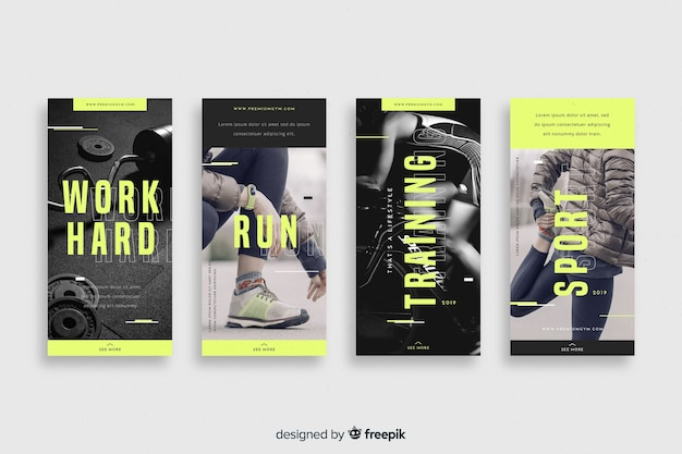 Coleção de histórias do instagram de esporte