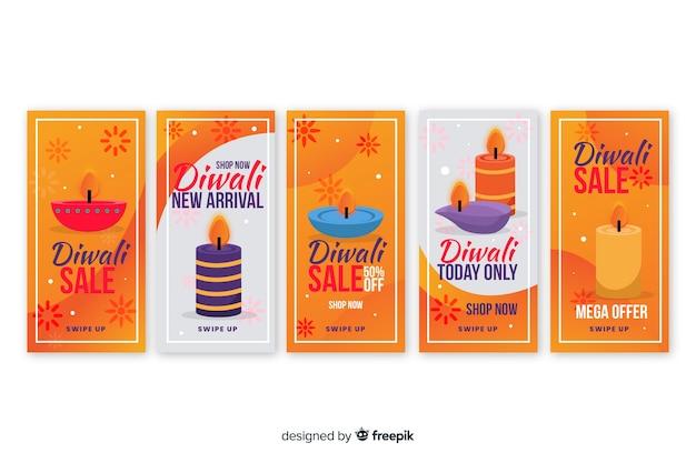 Coleção de histórias do instagram de evento de diwali