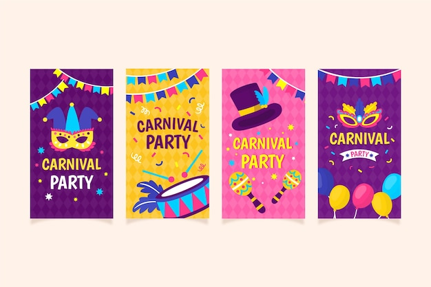 Coleção de histórias do instagram de festa de carnaval