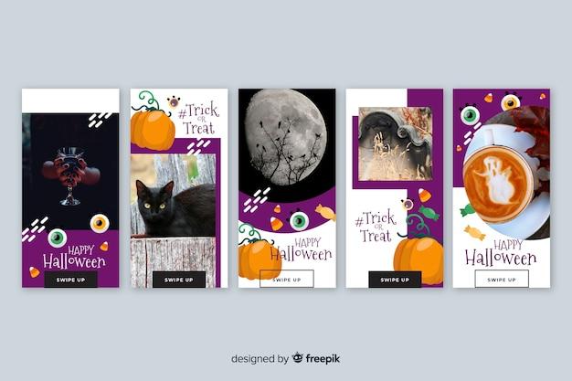 Coleção de histórias do instagram de fotografia e desenho animado halloween