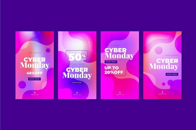 Coleção de histórias do instagram de gradiente cibernética gradiente cibernética segunda-feira