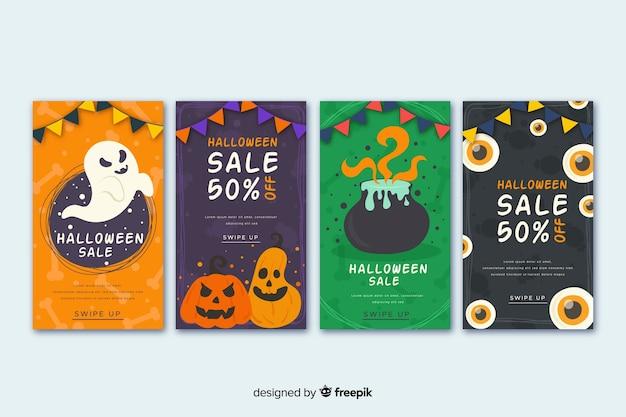 Coleção de histórias do instagram de halloween com abóbora e bruxaria