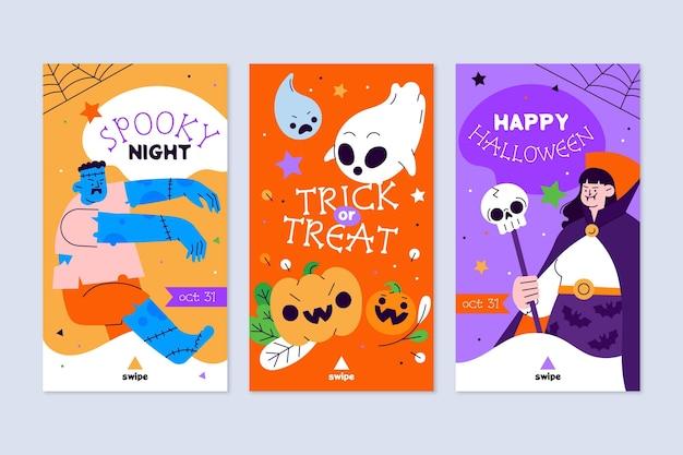 Coleção de histórias do instagram de halloween desenhada à mão
