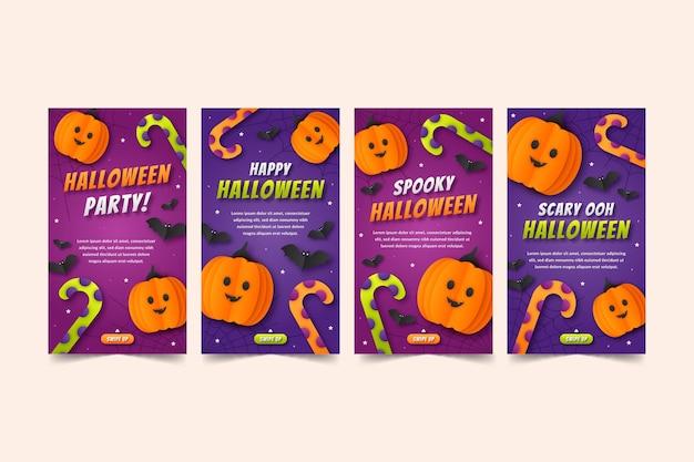 Coleção de histórias do instagram de halloween em estilo papel