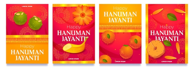 Coleção de histórias do instagram de hanuman jayanti de desenhos animados