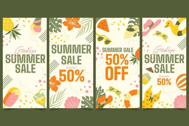 Coleção de histórias do instagram de liquidação de verão no fim da temporada