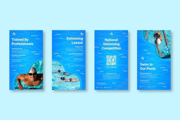 Coleção de histórias do instagram de natação