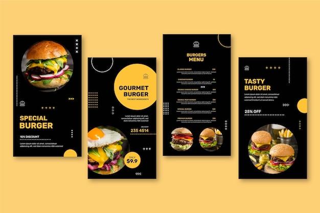 Coleção de histórias do instagram de restaurantes de hambúrgueres