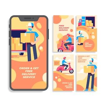 Coleção de histórias do instagram de serviço de entrega