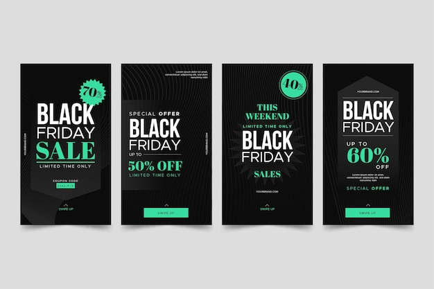 Coleção de histórias do instagram de sexta-feira preta com design plano