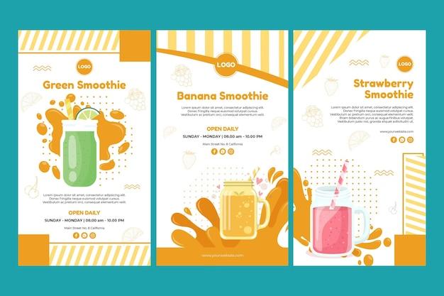 Coleção de histórias do instagram de smoothie