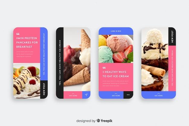 Coleção de histórias do instagram de sorvete