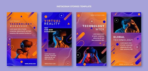 Coleção de histórias do instagram de tecnologia abstrata gradiente