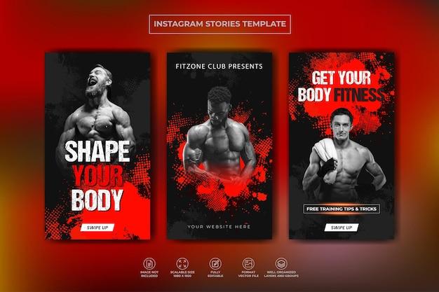 Coleção de histórias do instagram de treinamento de academia de ginástica e modelo de banner da web premium vector
