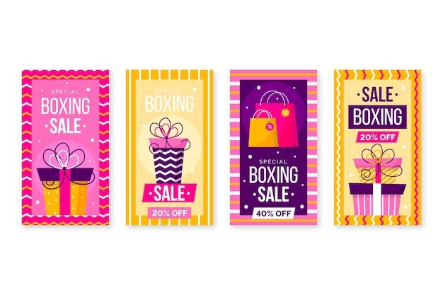 Coleção de histórias do instagram de venda de boxing day Vetor grátis