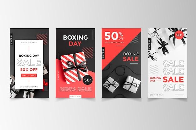 Coleção de histórias do instagram de venda de boxing day
