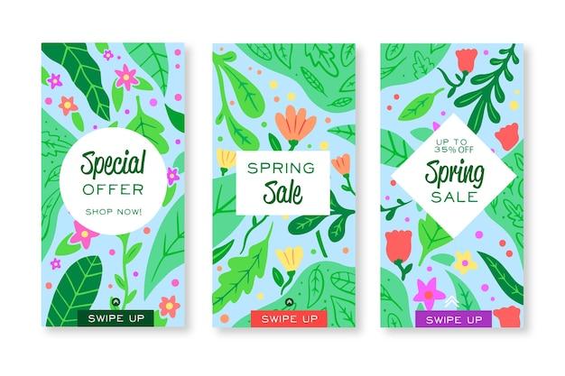 Coleção de histórias do instagram de venda de primavera de folhas verdes