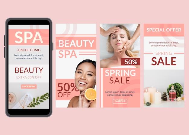 Coleção de histórias do instagram de venda de primavera