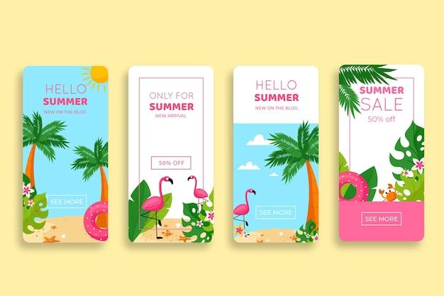 Coleção de histórias do instagram de venda de verão