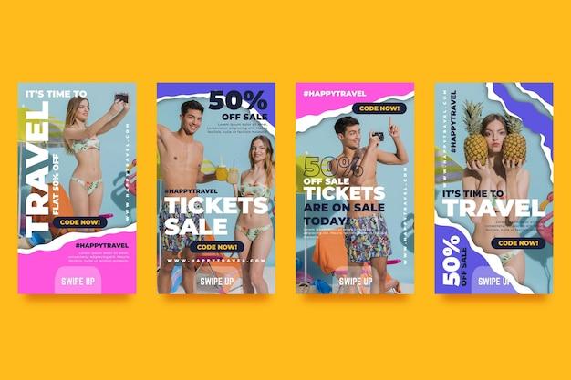 Coleção de histórias do instagram de venda de viagens