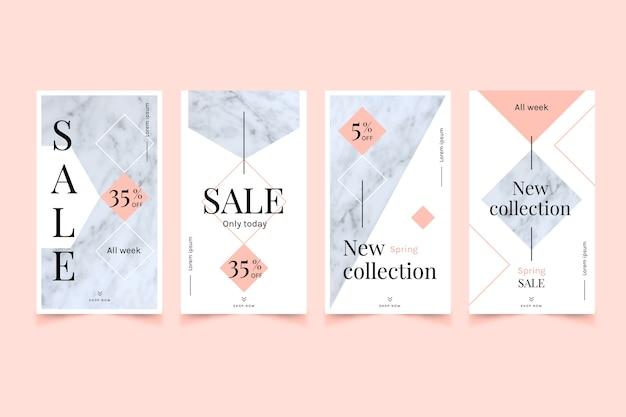 Coleção de histórias do instagram de venda em estilo de mármore
