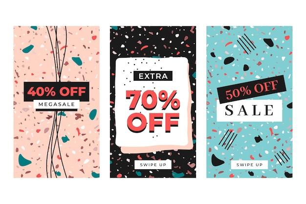 Coleção de histórias do instagram de venda em terraço e estilo desenhado à mão